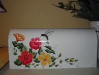Hibiscus and Hummingbird on White b/g Mailbox