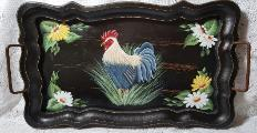 Hand Painted Rooster and Daisies Tray