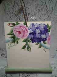 HP Roses and Hydrangea Wood Caddy - Left side