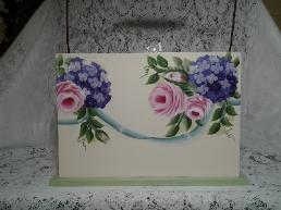 HP Roses and Hydrangea Wood Caddy - Back