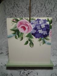 HP Roses and Hydrangea Wood Caddy - Right Side