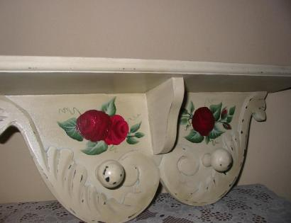Red Roses Wall Shelf - Angled View