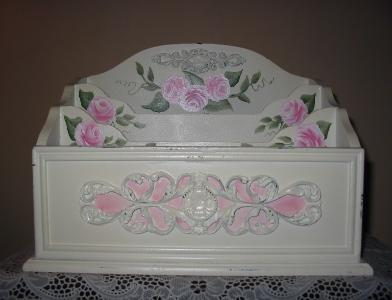 Shabby Chic Roses Desk Organizer - Front View