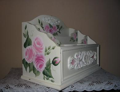 Shabby Chic Roses Desk Organizer -Side View